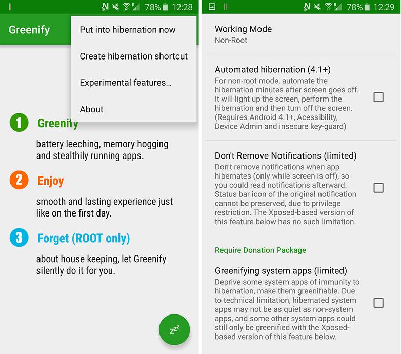 Greenify یک ابزار عالی برای افزایش سرعت اندروید