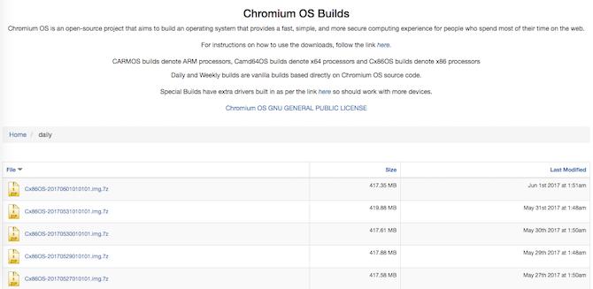 دانلود آخرین نسخه ازChromium OS image