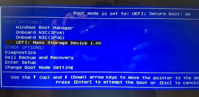 تنظیمات بوت برای اجرای USB آماده شده