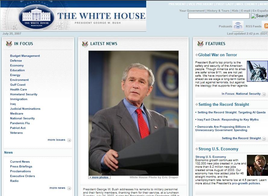 ماشین زمان؛ ده سال پیش وبسایت کاخ سفید