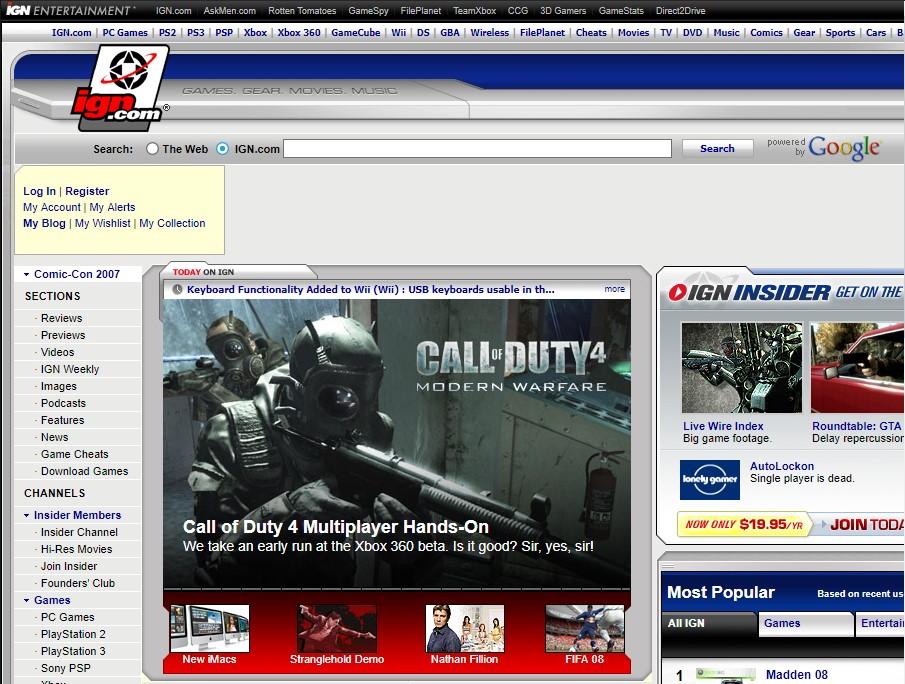 ماشین زمان؛ ده سال پیش وبسایت IGN