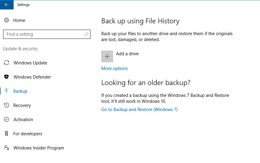 ابزار پشتیبان گیری در ویندوز 10