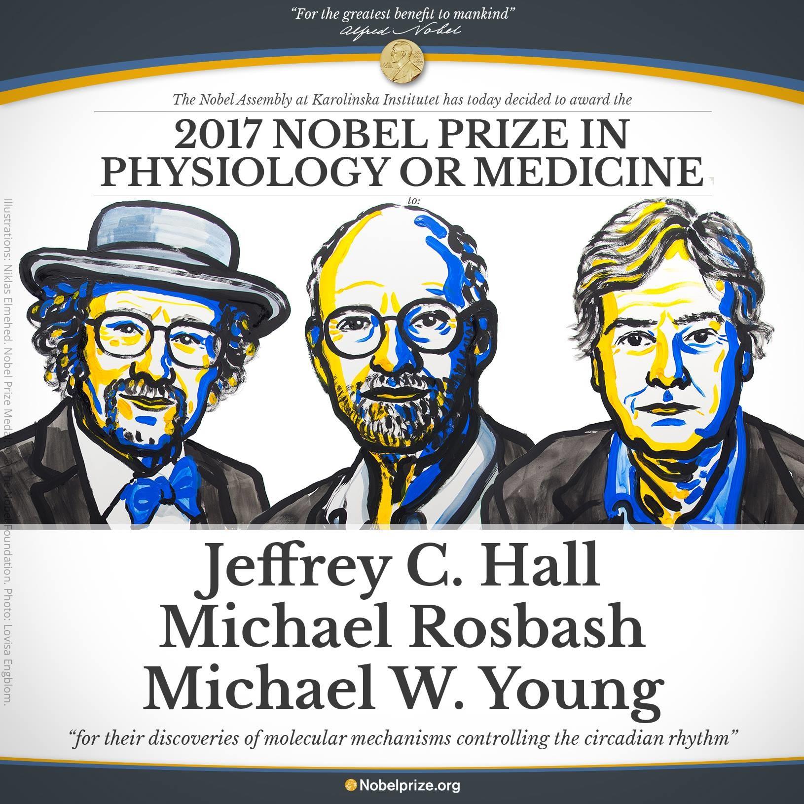 برندگان جایزه نوبل فیزیولوژی و پزشکی 2017