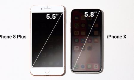 مقایسه صفحه نمایش آیفون X و آیفون ۸ پلاس