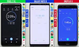 مقایسه ویدیویی سرعت وان پلاس 5 ، نوت ۸ و پیکسل ۲XL