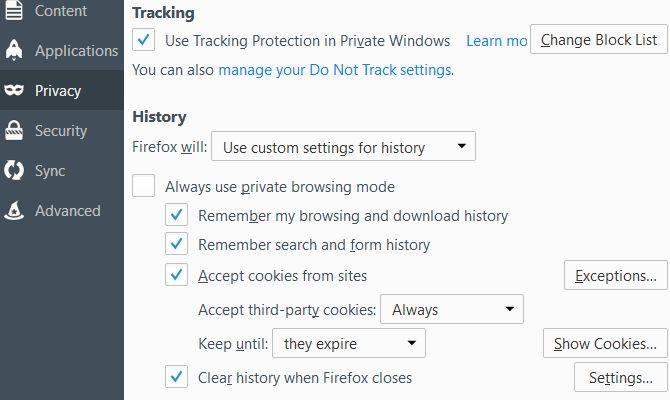 تنظیمات حریم خصوصی در فایرفاکس