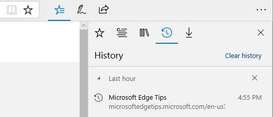حذف تاریخچه در Edge