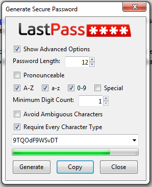LastPass اسم رمز