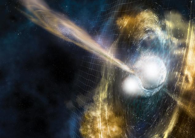 تصویری از برخورد یک ستاره نوترونی و ایجاد پلاتین، طلا و دیگر عناصر سنگین گرانبها.