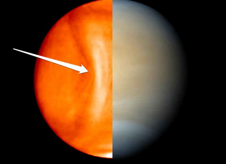 یک موج بی حرکت بزرگ در ابرهای اسید سولفوریک ناهید