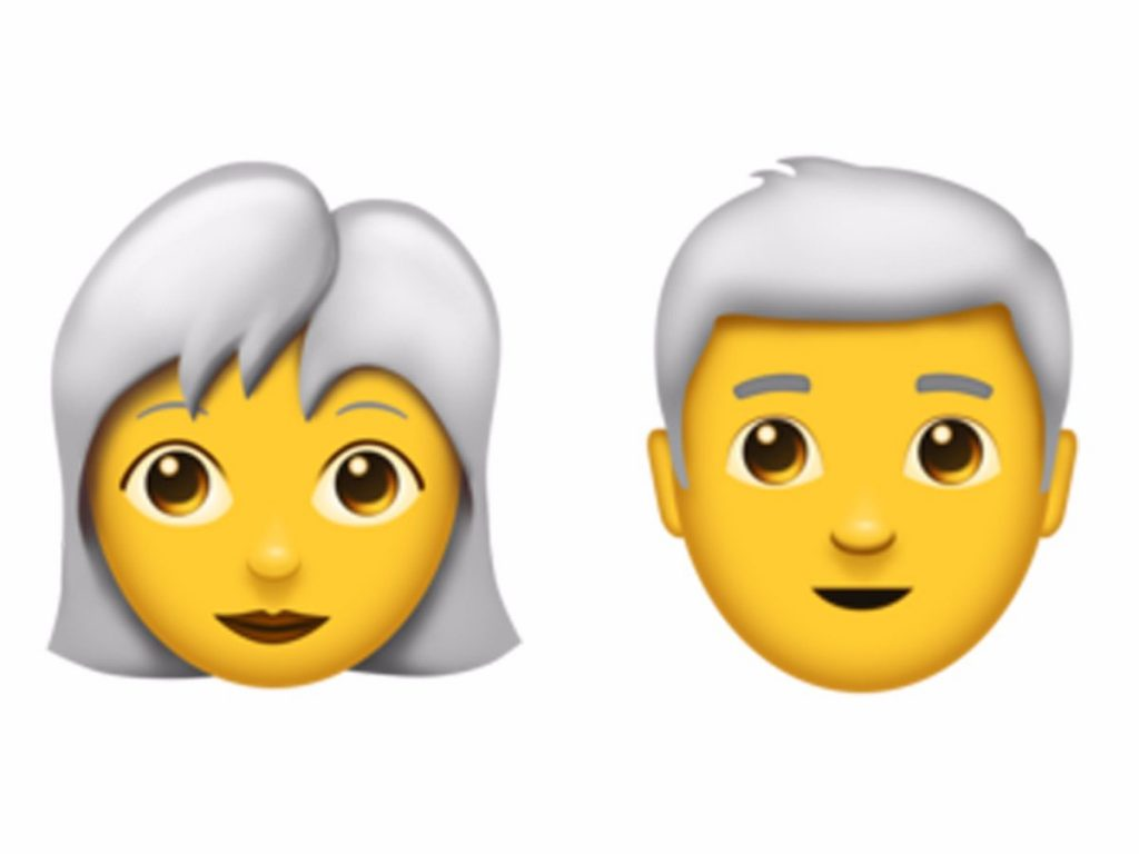 ایموجی زن و مرد با موی سفید