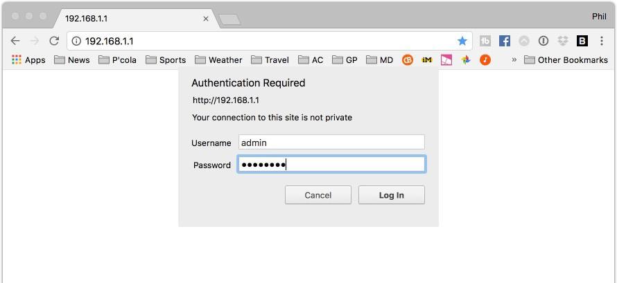 نام کاربری و رمز عبور برای ورود به صفحه تنطیمات وارد کنید