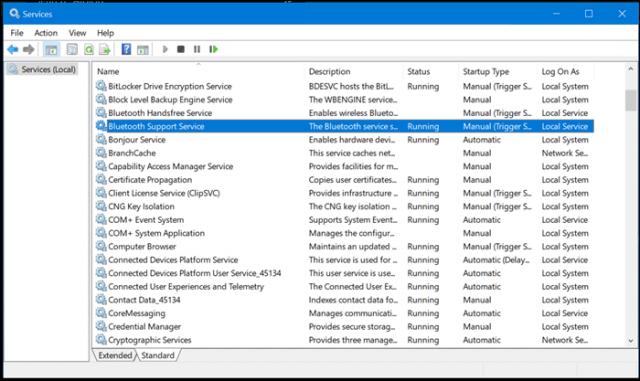 پنجره مربوط به سرویس های ویندوز 10