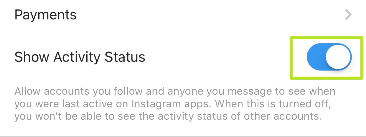 گزینه Show Activity Status را غیرفعال کنید