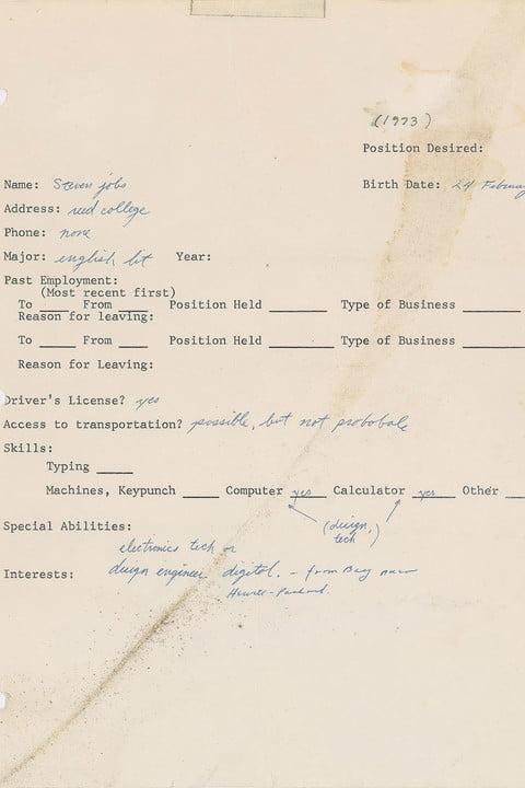 اولین درخواست شغلی استیو جابز