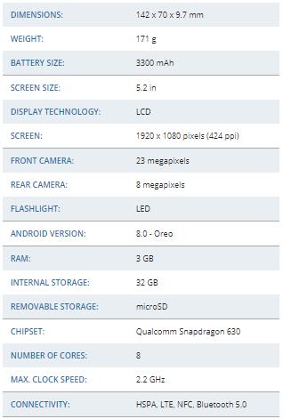 مشخصات فنی Sony Xperia XA2 در یک نگاه