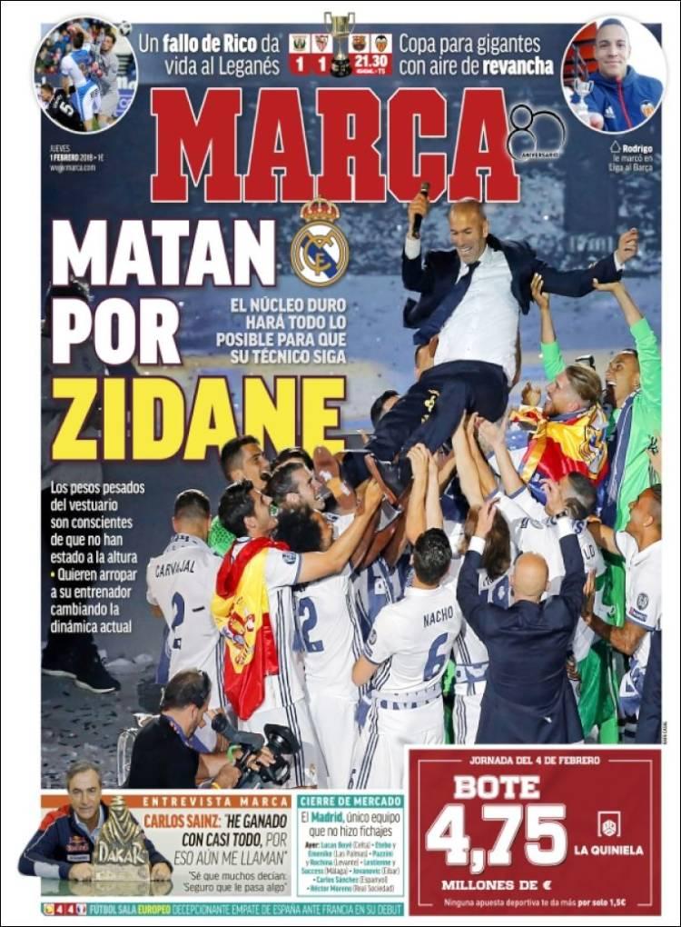 پیشخوان روزنامههای ورزشی اسپانیا؛ پنجشنبه 1 فوریه 2018, 12 بهمن 1396