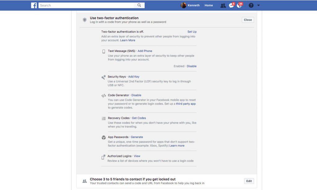 فعال سازی تاییدیه دو مرحله در فیس بوک