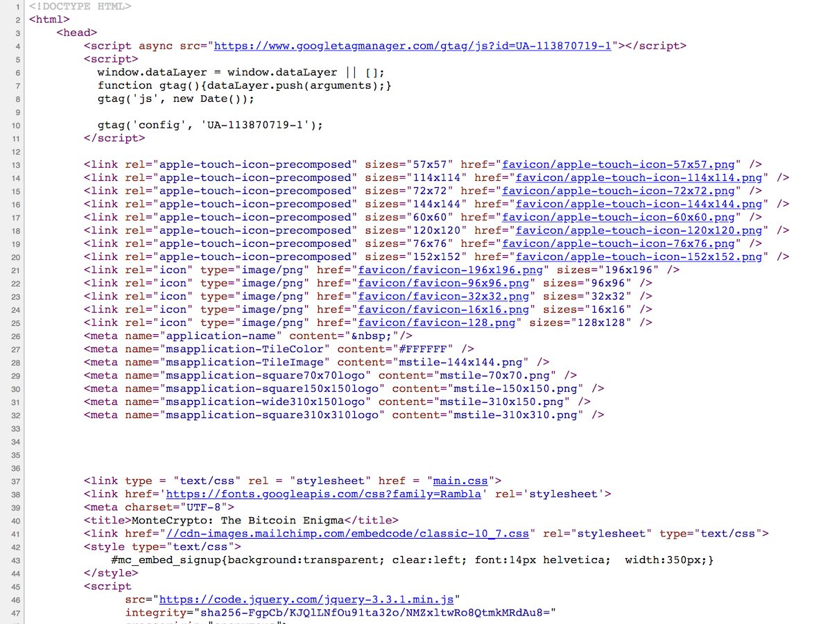بخشی از کد اصلی وب سایت که در آن یک سرنخ ظاهرا پنهان است.
