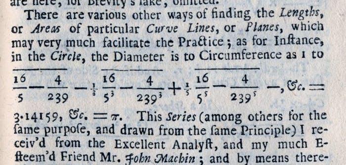 محاسبات ویلیام جونز از عدد π