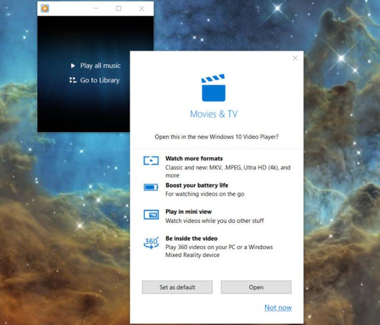 پنجره ظاهر شده در ویندوز 10 کهپیشنهاد سوئیچ از ویندوز مدیا پلیر به Movies & TV را می دهد
