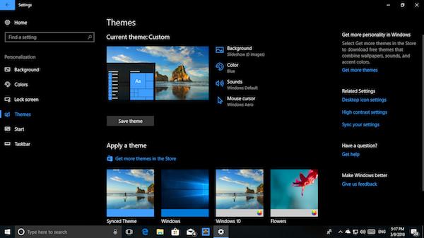 تنظیمات تم های ویندوز 10