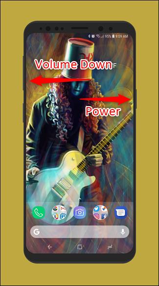 اسکرین شات گرفتن با فشار دادن دکمه های Volume Down و Power