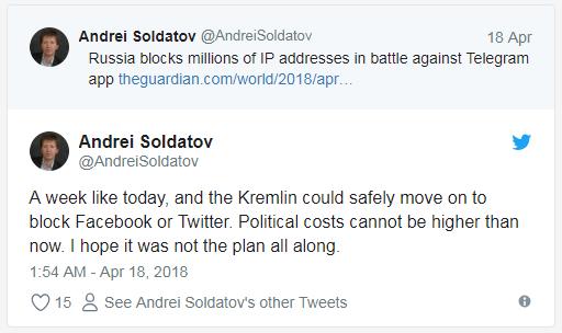 توییت آندره صلداتف، کارشناس اطلاعات روسیه