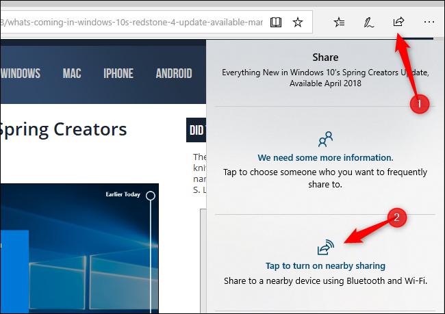 استفاده از دستور Share برای فعال کردن قابلیت