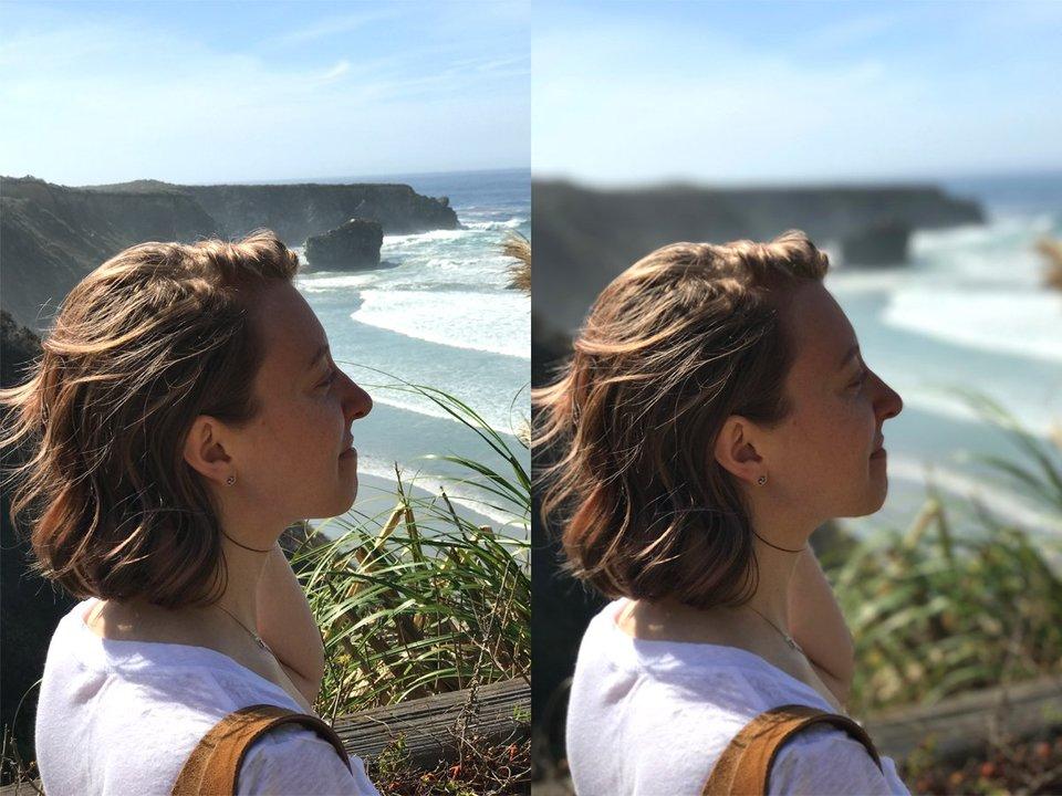 تصویر سمت چپ در حالت نرمال عکاسی شده است و سمت راست با حالت پرتره گوشی آیفون