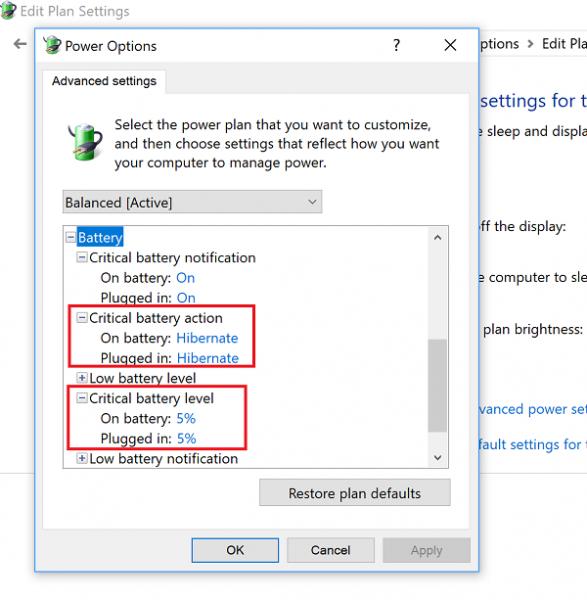 تنظیمات Power Options جهت کالیبراسیون