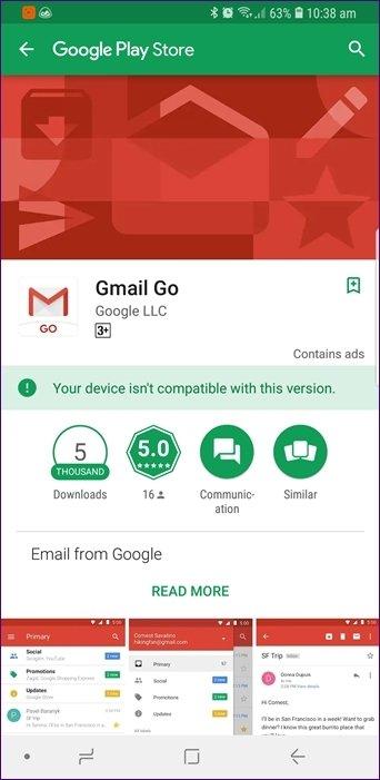 Gmail Go فقط در دستگاه های Android Go نصب می شود