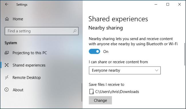 استفاده از برنامه نظیمات برای فعال کردن قابلیتNearby Sharing