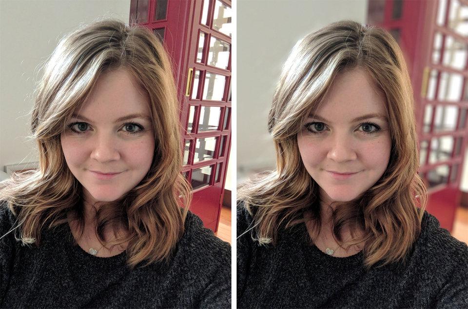 تصویر سمت چپ شات در حالت نرمال گرفته شده است و سمت راست با حالت پرتره Pixel.