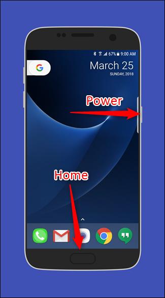 اسکرین شات گرفتن در گوشی های قدیمی تر گلکسی با استفاده از دکمه Power و Home