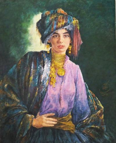 """""""دختر کردی"""" یکی از معروف ترین نقاشیهای اوست که تا کنون صدها تخته فرش از رویش کپی شده است."""