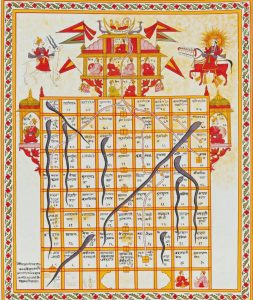 ورژن جِین (Jain) بازی مار و پله که به عنوان جنانا بازی یا جین بازی (jnana bazi or Gyan bazi) در قرن 19 در هندوستان انجام می شد. این نسخه با گواش بر روی پارچه ترسیم شده است