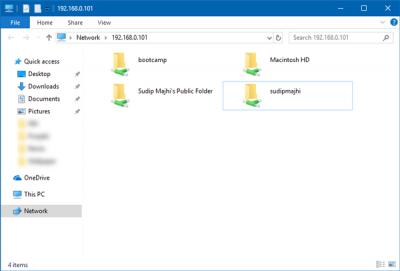 از این پنجره شما می توانید به تمام فایل های مک بوک خود از کامپیوتر ویندوز دسترسی داشته باشید.
