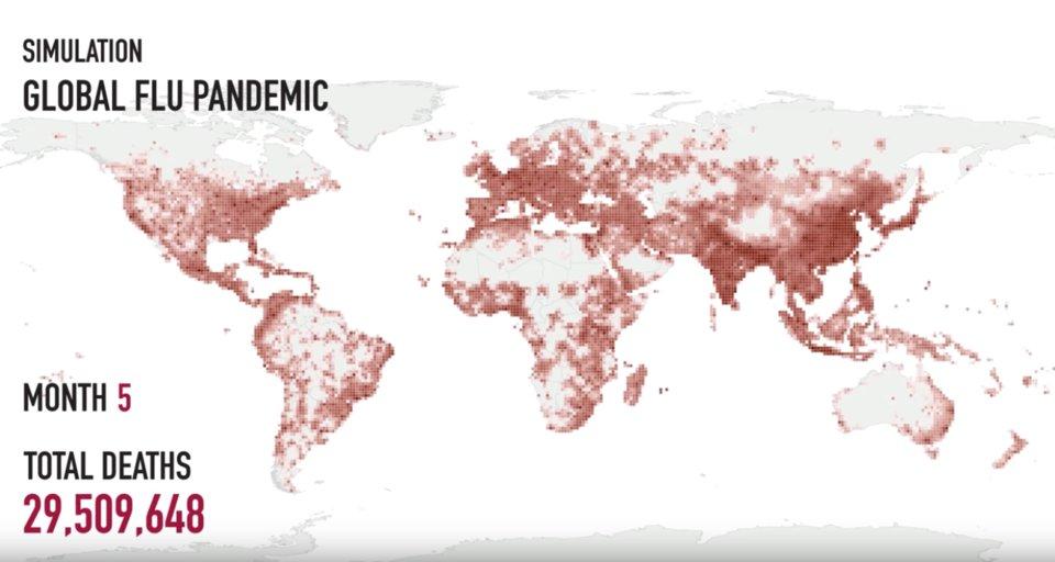 نقشه جهانی شیوع آنفولانزا