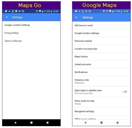 اپ Maps Go فقط سه گزینه در منوی تنظیمات دارد
