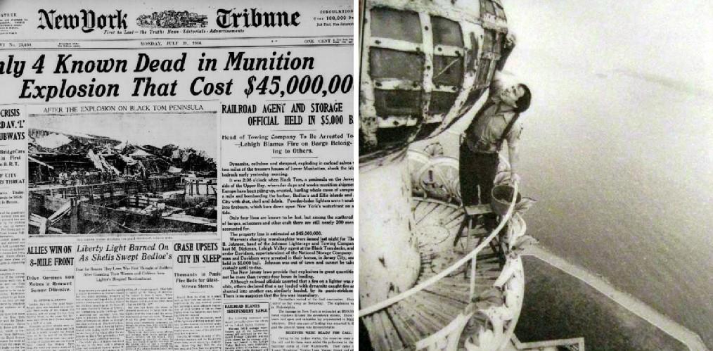 بازتاب انفجار در اطراف مجسمه آزادی در روزنامه های آن زمان