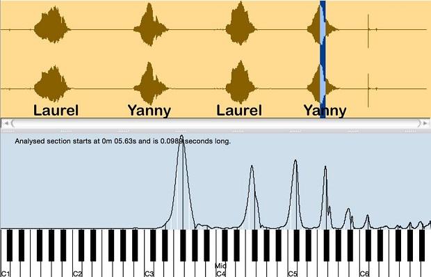 ... و هجای دوم یک اکتاو است، به علاوه یک پنجم، به علاوه یک اکتاو دیگر، درست مثل صوتی اصلی و صدای ضبط شده ی خودمان در هنگام گفتن کلمه ی Laurel