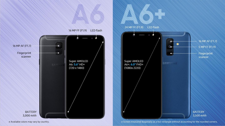 تصویری از گوشی های Galaxy A6 و A6 پلاس سامسونگ