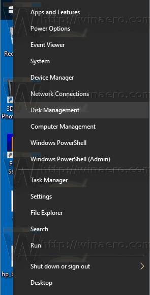 گزینه Disk Management را انتخاب کنید