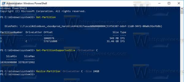 """عبارت Resize-Partition -DriveLetter """"drive_letter"""" -Size size_value را تایپ کنید"""