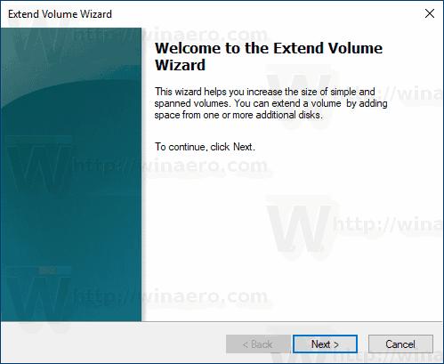 روی دکمه Next در ویزارد Extend Volume کلیک کنید
