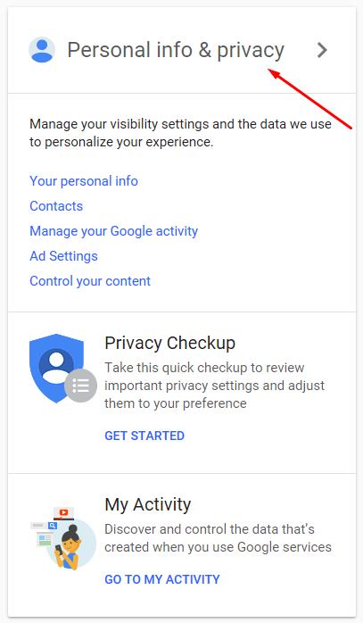 روی Personal info & privacy کلیک کنید.