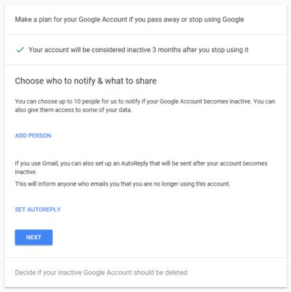 حداکثر ۱۰ فرد مورد اعتماد خود را انتخاب کنید تا عملیات پاک کردن اکانت گوگل پس از مرگ شما به وی اطلاع داده شود