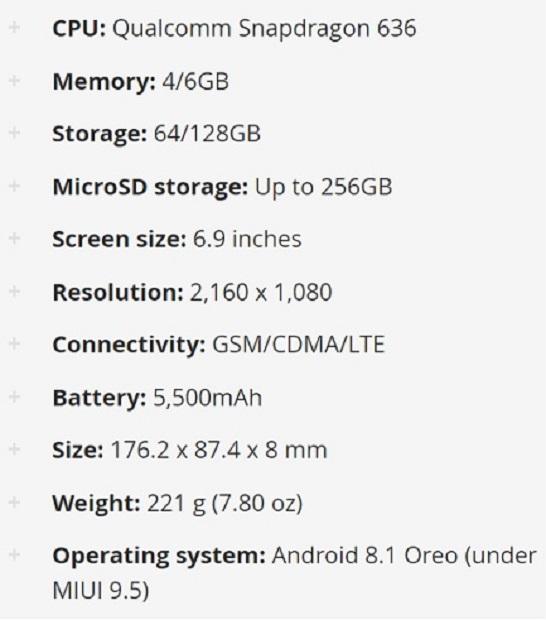 مشخصات گوشی Mi Max 3