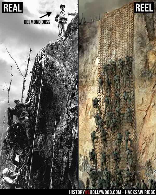 مقایسه واقعیت با صحنه ای از فیلم در فیلم Hacksaw Ridge